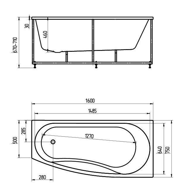 Акриловая ванна Акватек Пандора 160х75 левая на каркасе со сливом-переливом