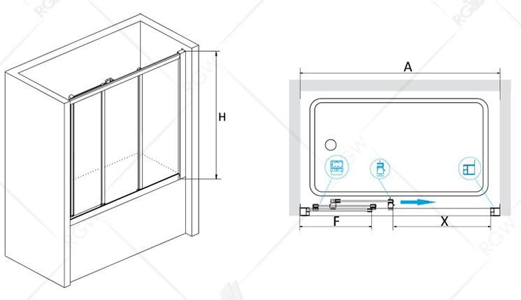 Шторка на ванну 180*150 RGW SC-41 Хром/Шиншила/4 мм (176-181) (Easy)