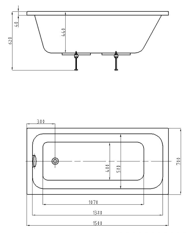 Акриловая ванна Акватек Мия 150*70