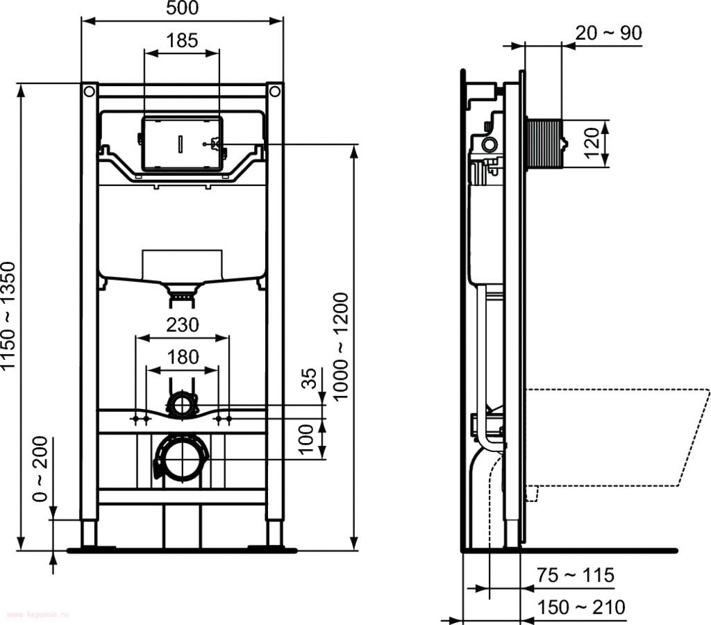 Комплект Ideal Standard Tesi Aquablade с инсталляцией PROSYS