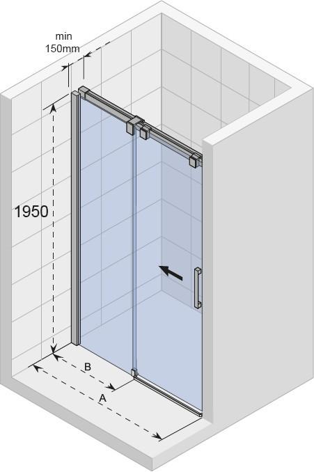 Душевая дверь Riho Ocean O104 1400х1950 хром/прозрачное/8мм
