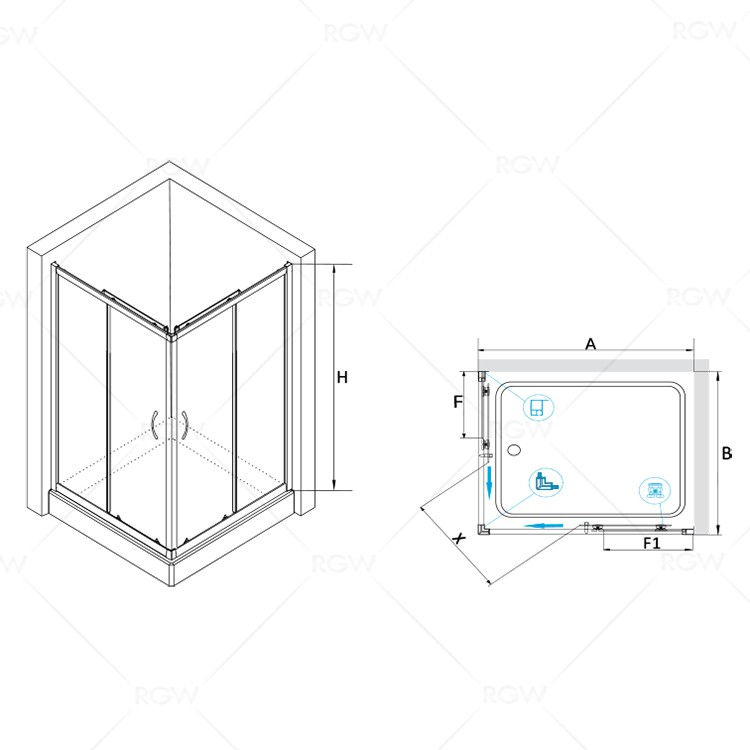 Душевой уголок RGW PA-146 80*100*185 Прямоуг/Хром/Прозрачное(Easy)/6 мм