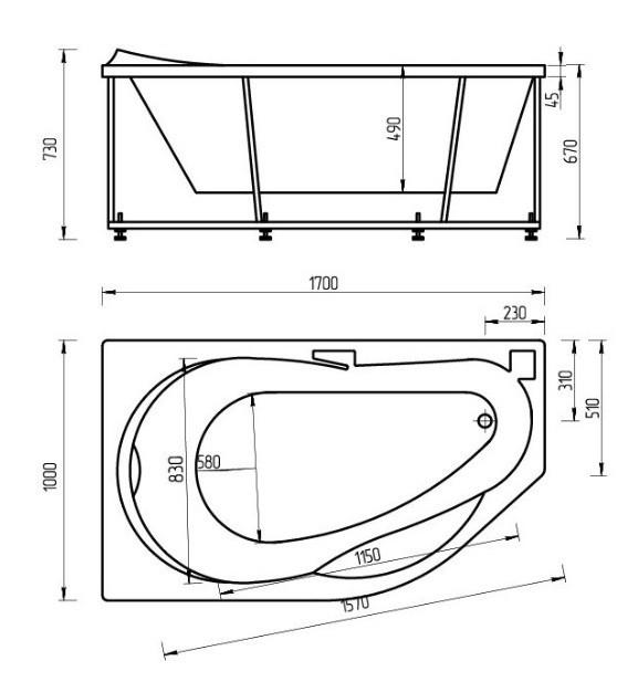 Акриловая ванна Акватек Таурус 170х110 левая на каркасе со сливом-переливом
