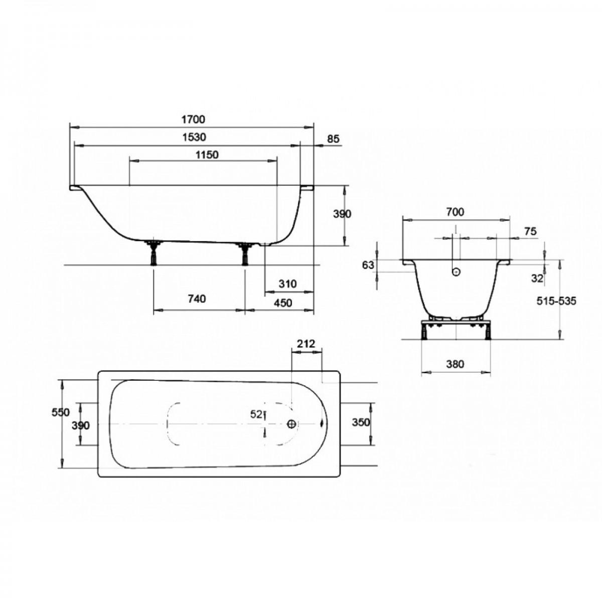 Ванна стальная Kaldewei Eurowa мод. 309-1 170х70