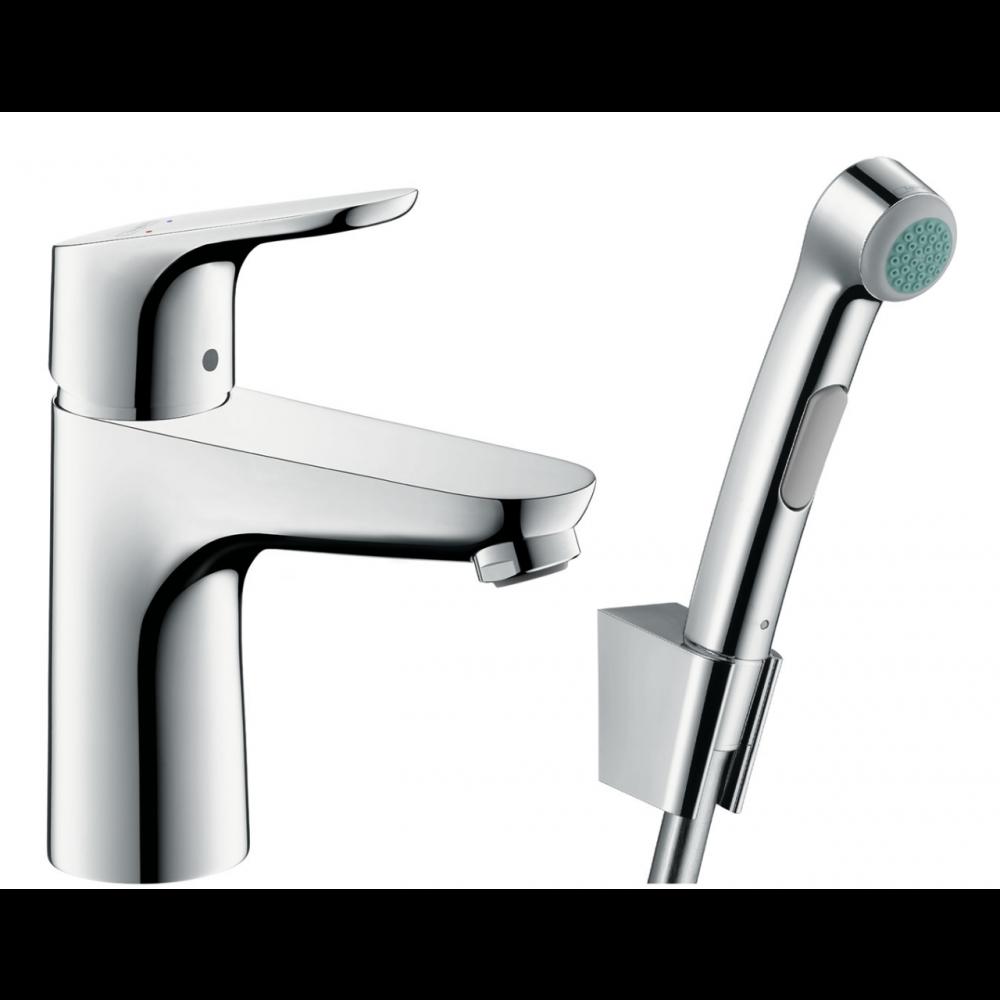 Смеситель для раковины Hansgrohe Focus с гигиеническим душем и донным клапаном