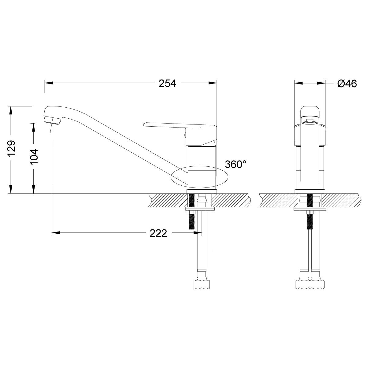 Смеситель для кухни Lemark Point LM0304C низкий с поворотным изливом