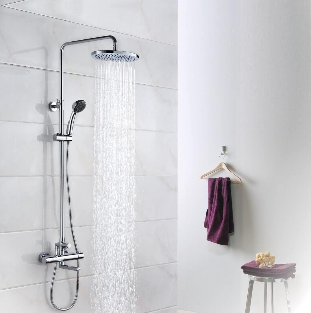 Душевая стойка Lemark Yeti LM7862C с верхним душем и смесителем для ванны термостат