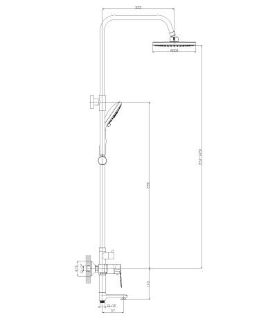 Смеситель для ванны и душа Rossinka S35-46 с регулируемой высотой штанги, поворотным изливом 97 мм и верхней душевой лейкой «Тропический дождь»