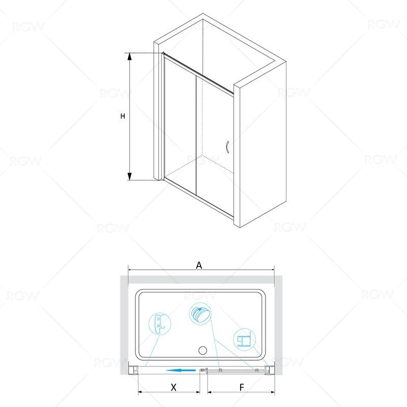 Душевая дверь 150*195 RGW PA-12 Хром/Прозрачное/6 мм (Easy)