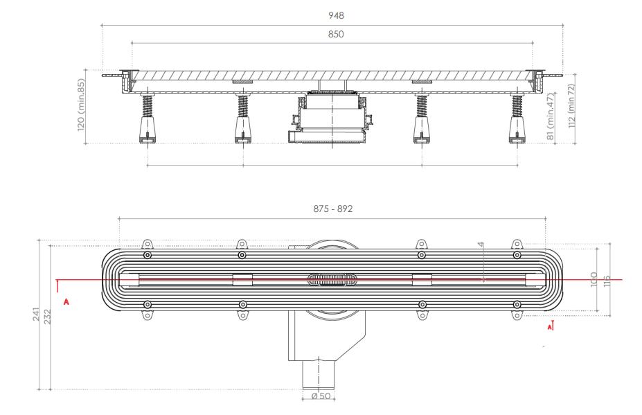 Душевой лоток Pestan Confluo Slim Line 850