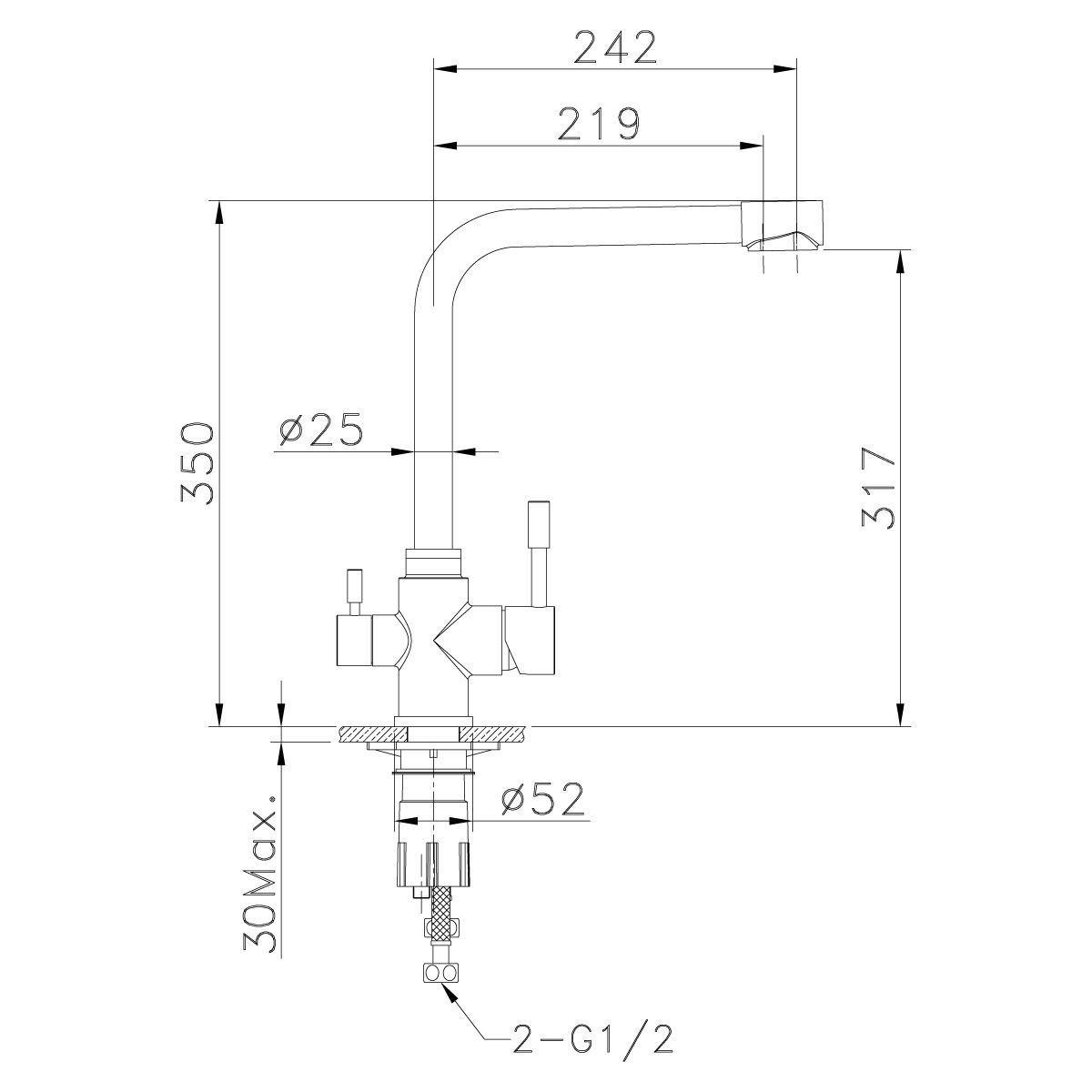 Смеситель для кухни Lemark Expert LM5060S из нержавеющей стали с подключением к фильтру