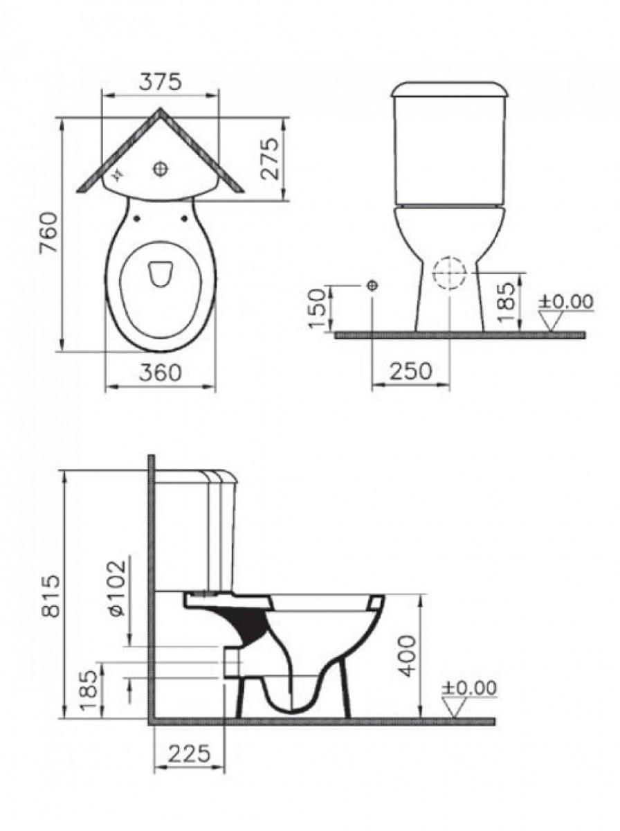 Угловой унитаз Vitra Arkitekt с сиденьем микролифт