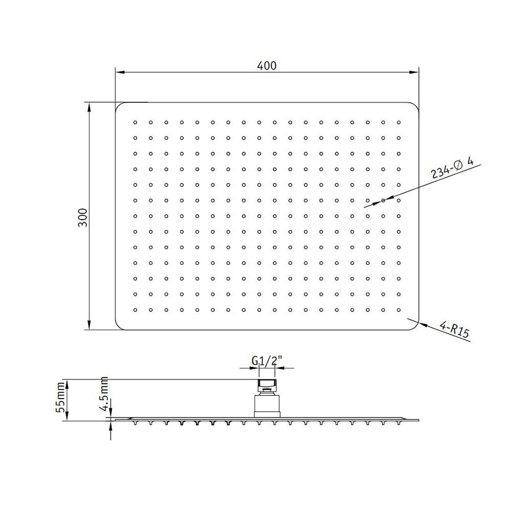 Верхний душ прямоугольный RGW SP-84 40x30