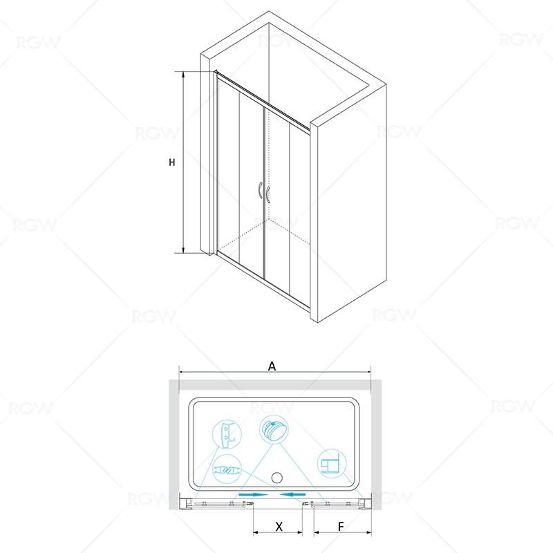 Душевая дверь 170*195 RGW PA-11 Хром/Прозрачное/6 мм (Easy)