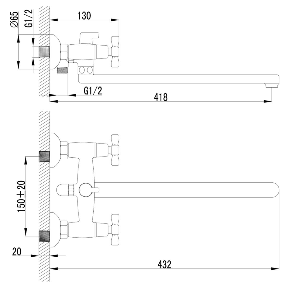 Смеситель для ванны и душа Lemark Benefit LM2512C с длинным изливом