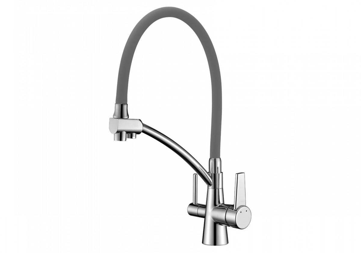 Смеситель для кухни Lemark LM3071C-Gray с подключением к фильтру с питьевой водой