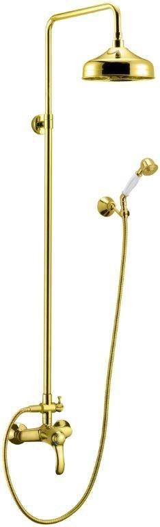 Душевая колонна Cezares LIRA-C-CD-03 со смесителем, верхним и ручным душем, золото