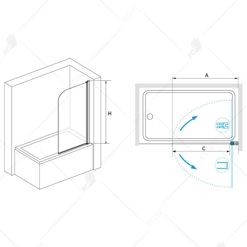 Шторка на ванну  70*150 RGW SC-09 Хром/Прозрачное(easy)/6 мм