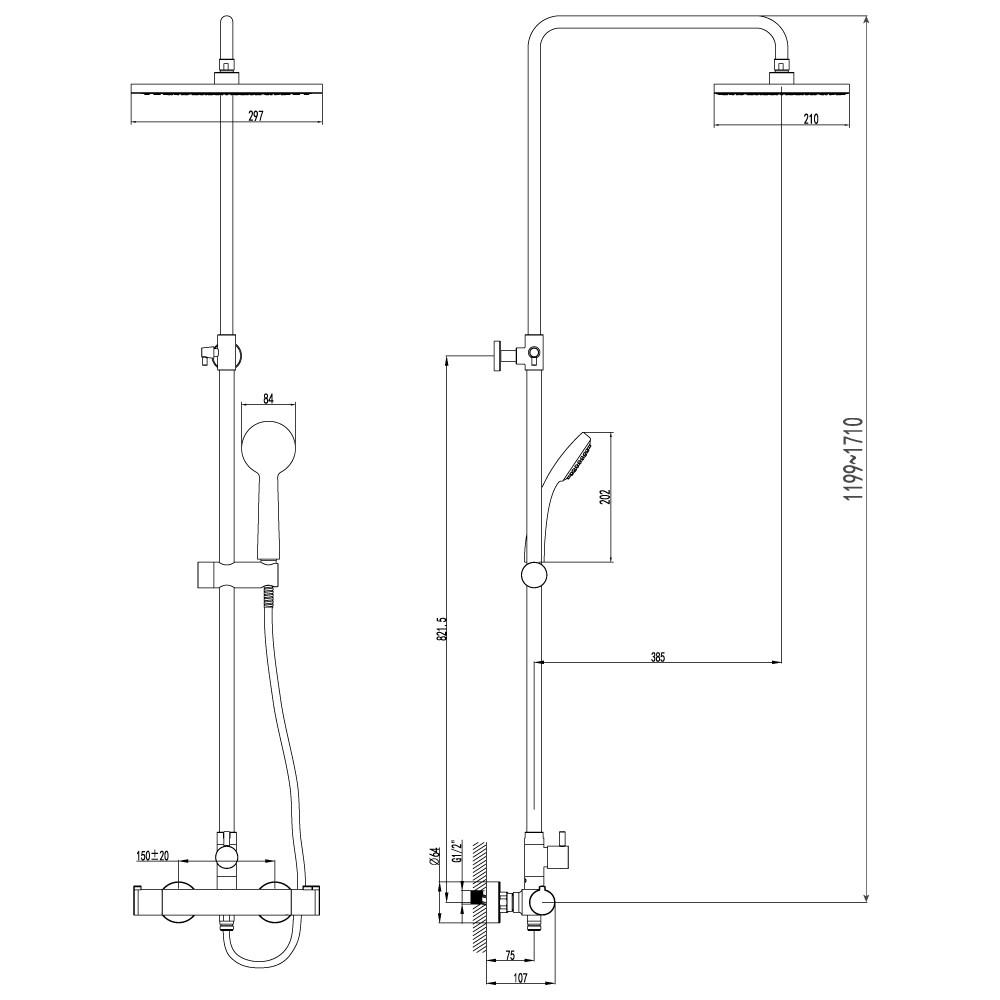 Душевая стойка Lemark Yeti LM7860C с термостатом