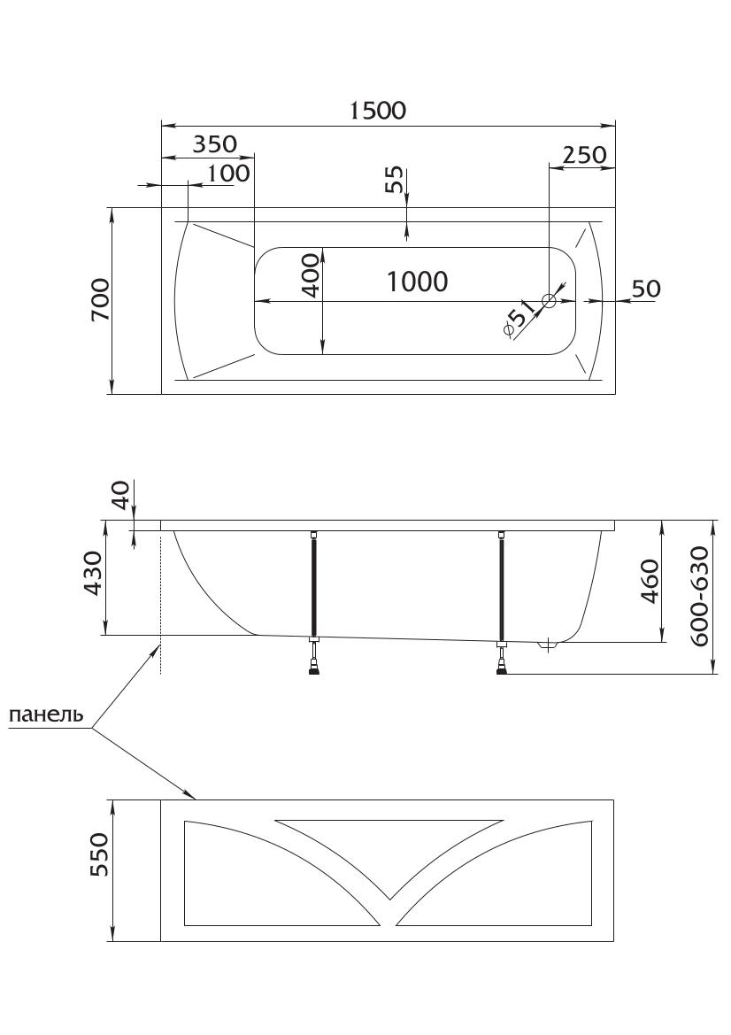 Акриловая ванна Marka One MODERN 150x70