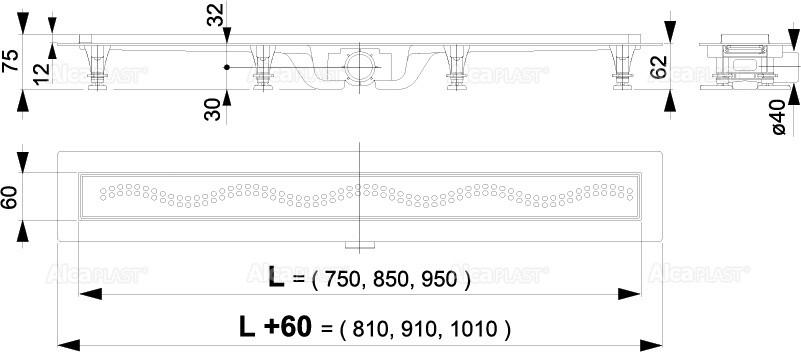 Водоотводящий жолоб Alcaplast APZ8-950M Simple с порогами для перфорированной решетки