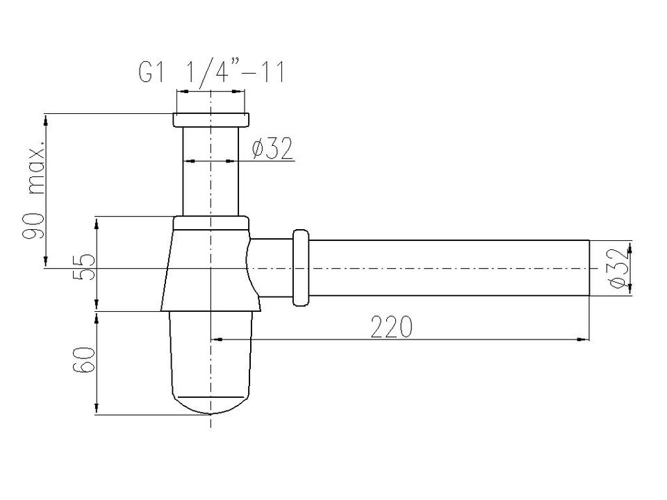"""Сифон для умывальника Rav-Slezak MD0545SM диаметр 32мм с накидной гайкой 5/4"""" латунь,  бронза"""