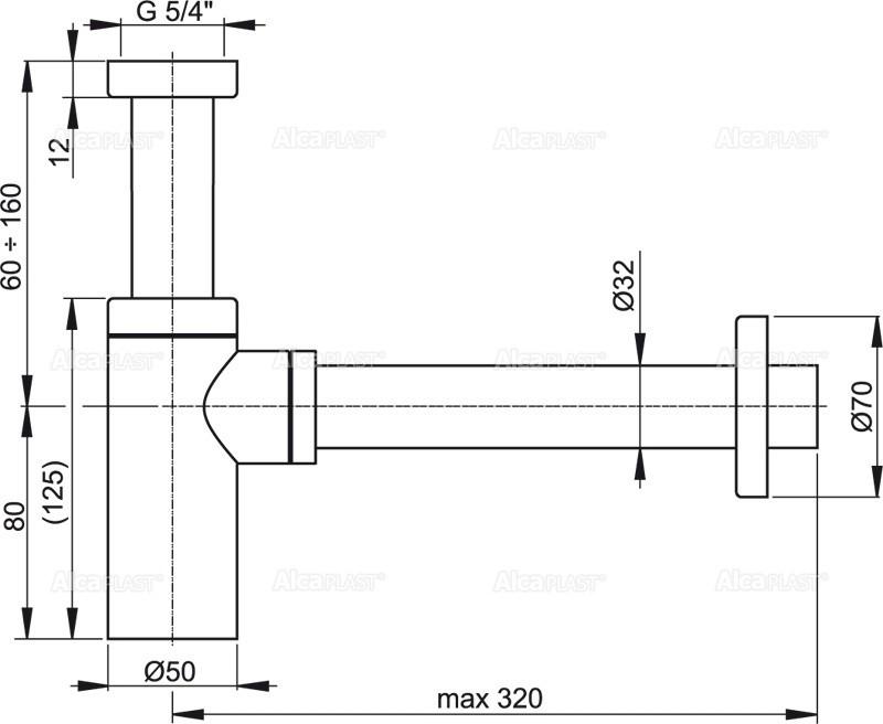 Сифон для умывальника Alcaplast A400 цельнометаллический круглый