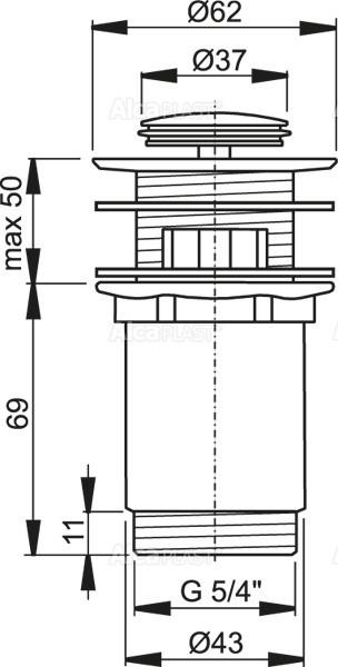 """Донный клапан Alcaplast A391 для умывальника click/clack 5/4"""" цельнометаллический с переливом и малой заглушкой"""