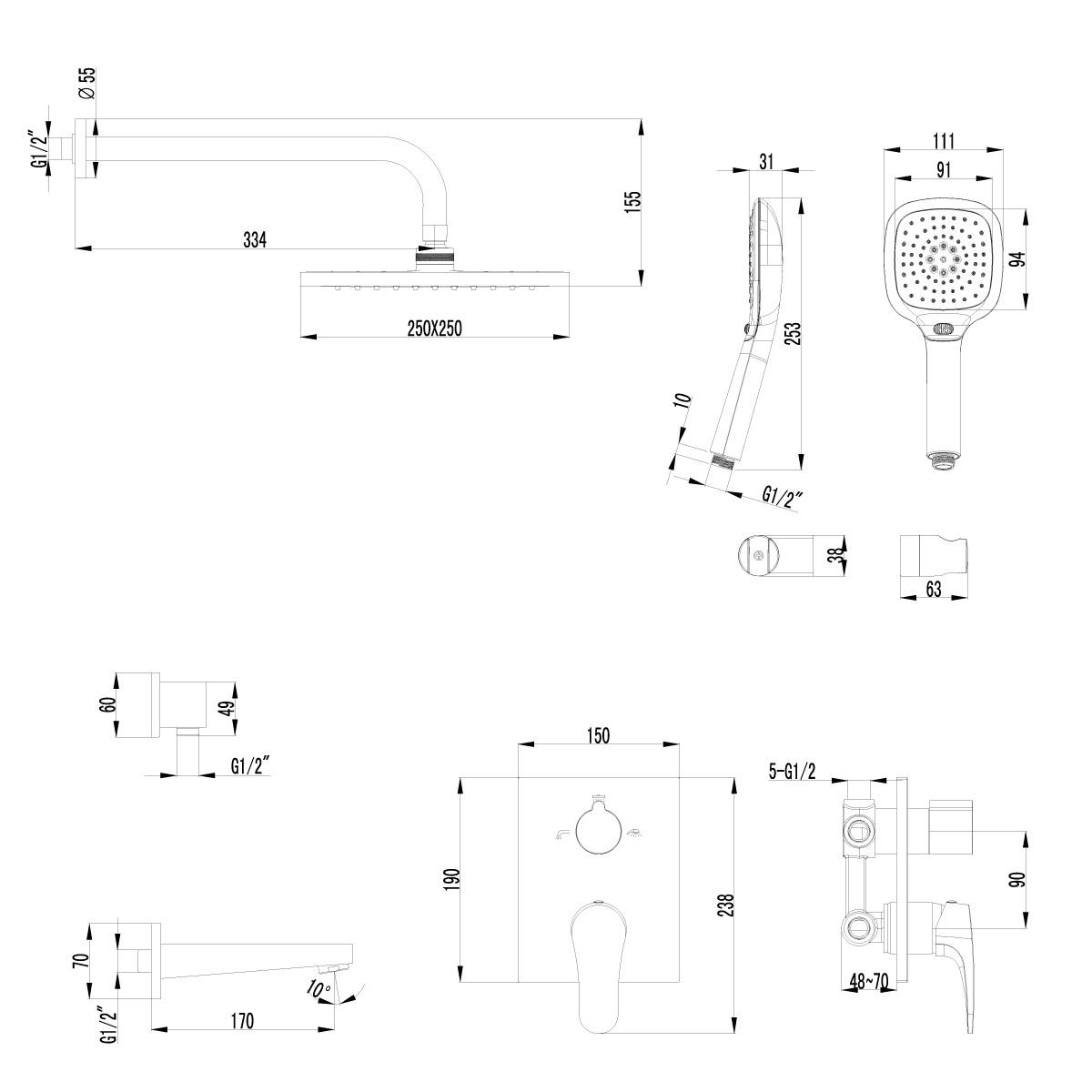 Встраиваемый душевой комплект Lemark Shift LM4322C с изливом