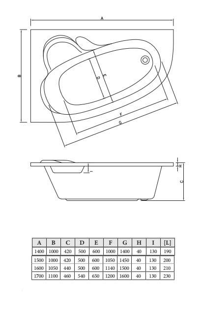 Асимметричная акриловая ванна C-bath Atlant 170x110 R