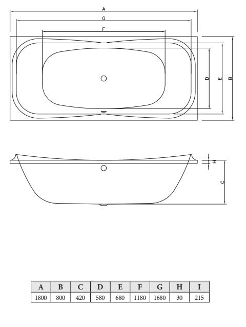 Акриловая ванна C-Bath Kronos 180x80