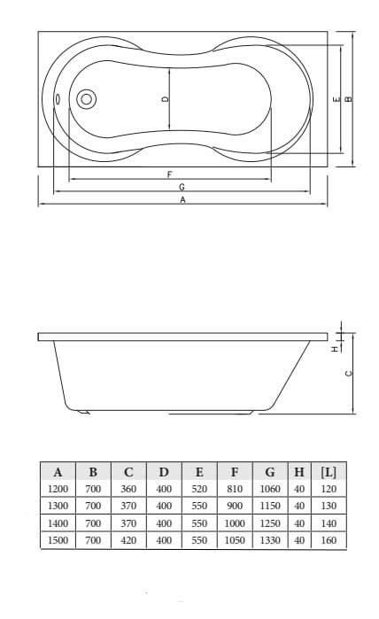 Акриловая ванна C-Bath Salus 120x70