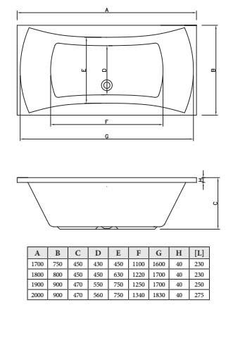 Акриловая ванна C-Bath Talia 180x80