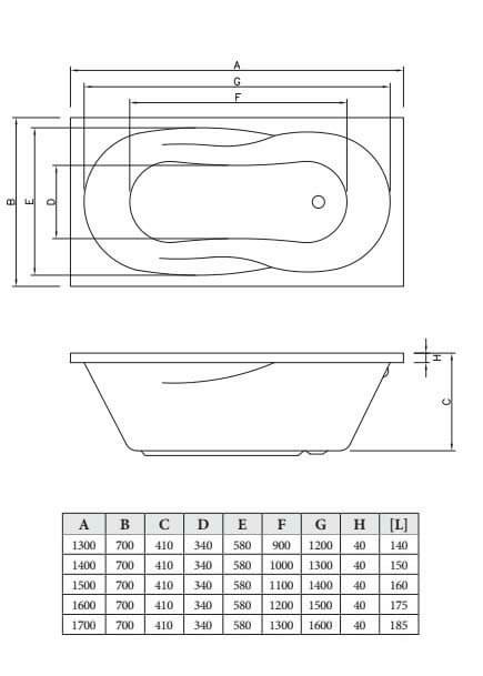 Акриловая ванна C-Bath Vesta 160x70