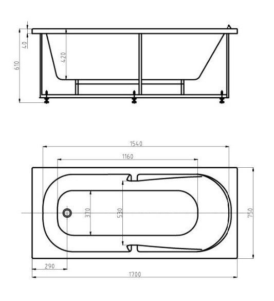 Акриловая ванна Акватек Лея 170х75 на каркасе со сливом-переливом