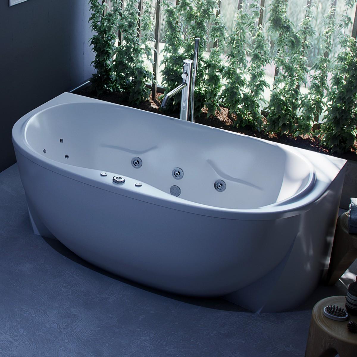 Акриловая ванна Акватек Мелисса 180х95 на каркасе со сливом-переливом