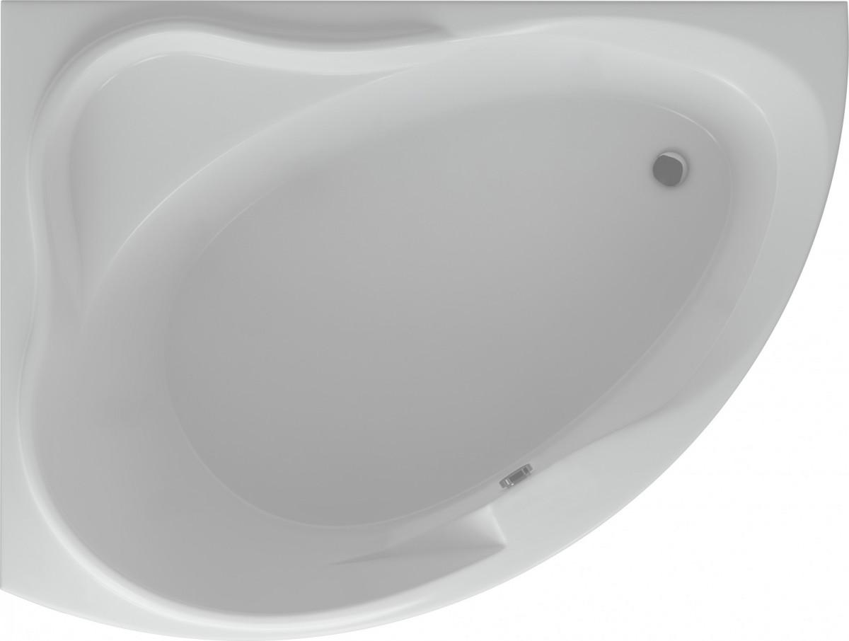 Акриловая ванна Акватек Альтаир левая 158х110/120 на каркасе со сливом-переливом