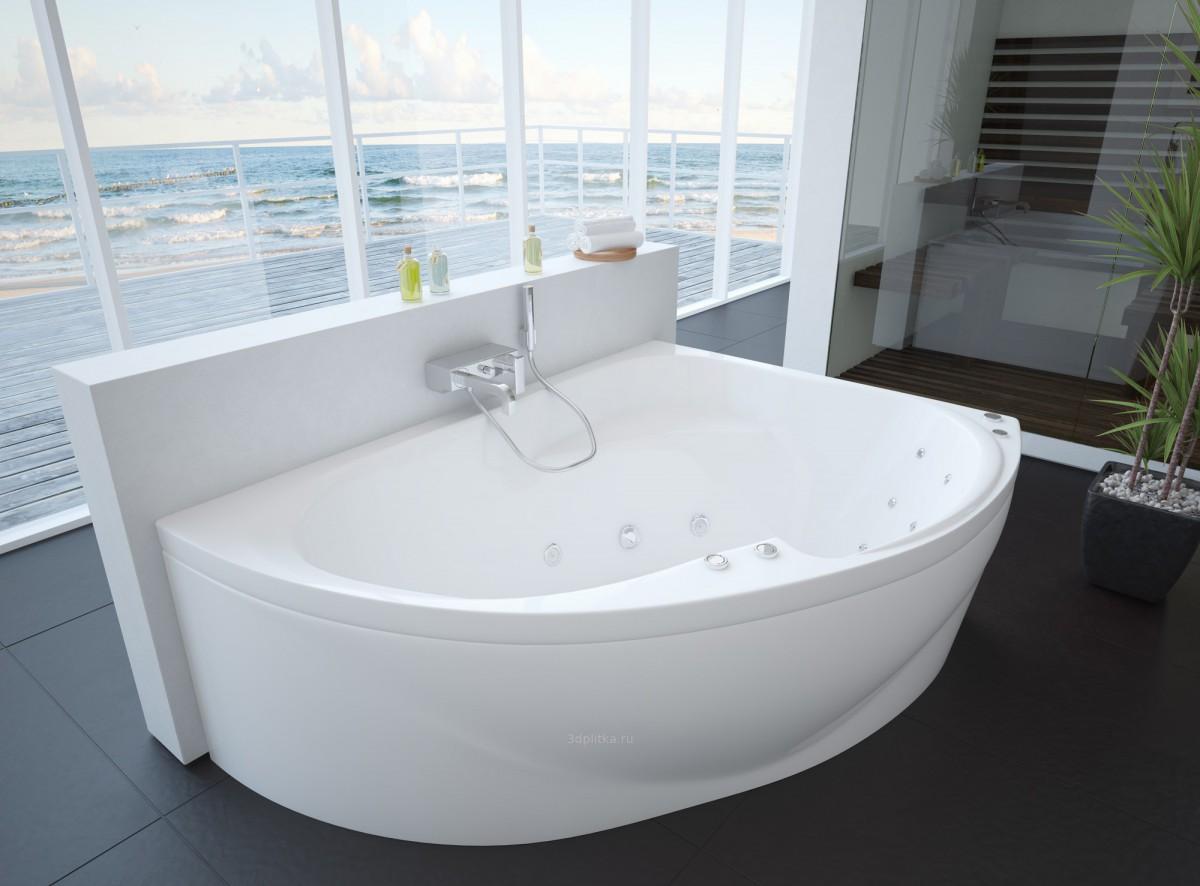 Акриловая ванна Акватек Альтаир правая 158х110/120 на каркасе со сливом-переливом