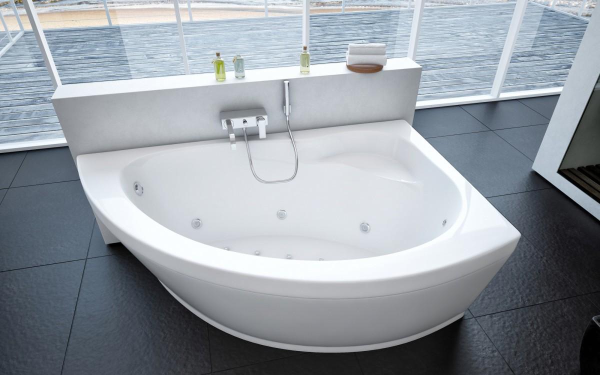 Акриловая ванна Акватек Аякс 2 правая 170х110 на каркасе со сливом-переливом
