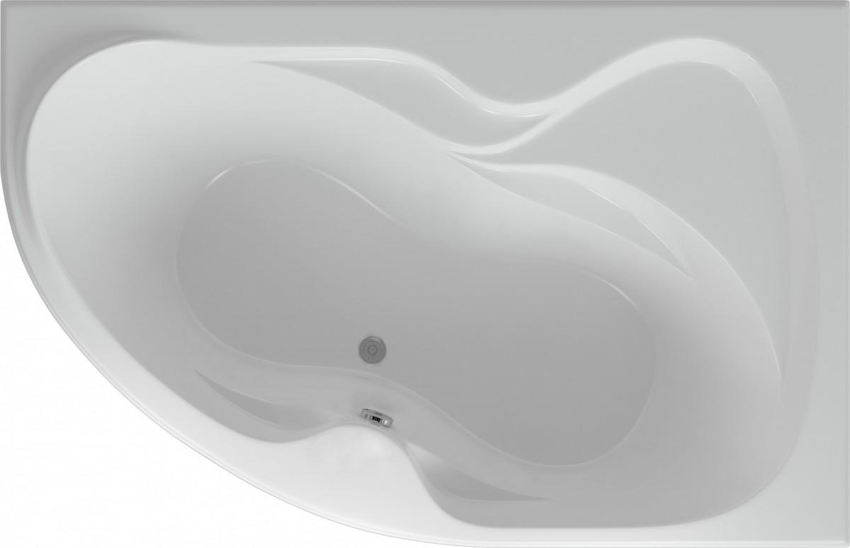 Акриловая ванна Акватек Вега правая 170х105 на каркасе со сливом-переливом