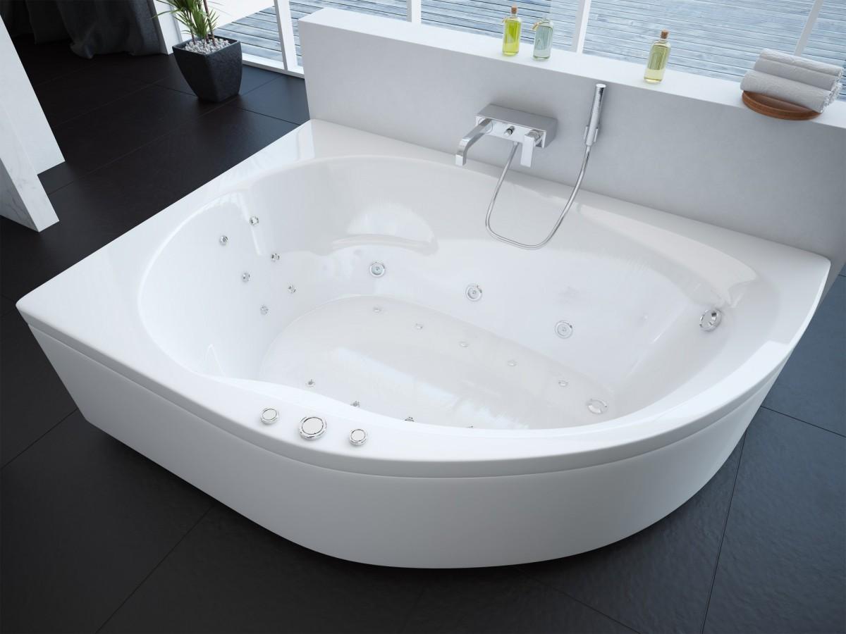 Акриловая ванна Акватек Вирго левая 150х100 на каркасе со сливом-переливом