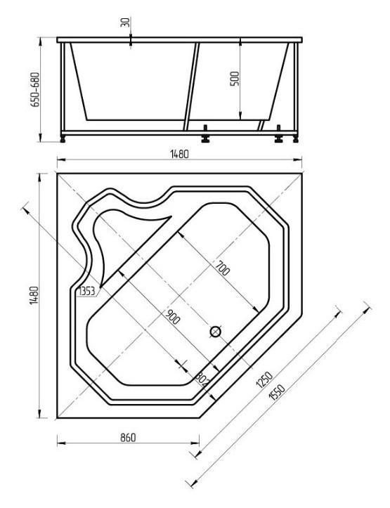Акриловая ванна Акватек Лира 148х148 на каркасе со сливом-переливом