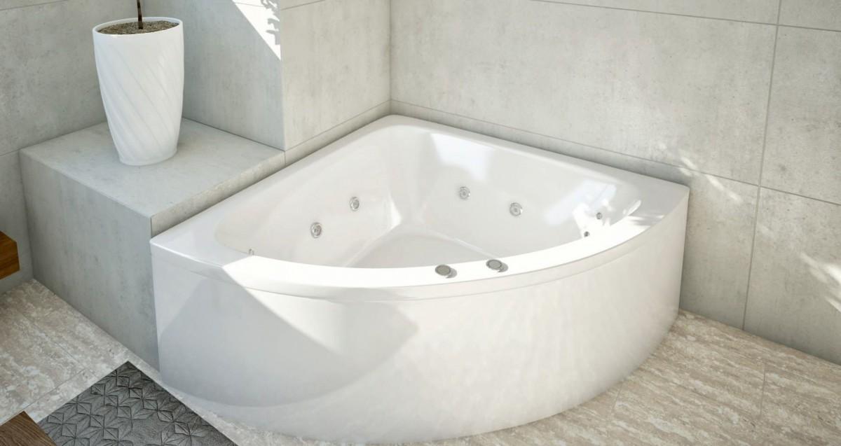 Акриловая ванна Акватек Юпитер 150х150 на каркасе со сливом-переливом