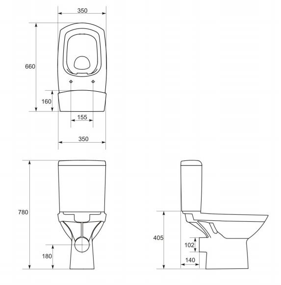 Унитаз-компакт Cersanit Carina New Clean On 011 с сиденьем дюропласт и микролифтом easy-off