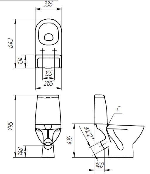 Унитаз компакт Cersanit Granta 031 с сиденьем дюропласт и микролифтом