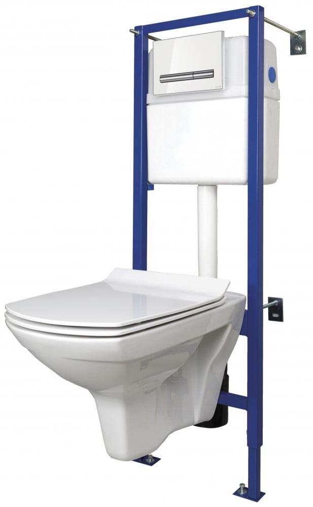 Комплект Cersanit Carina New Clean On + сиденье slim дюропласт микролифт + инсталляция LINK PRO + кнопка PILOT стекло белая