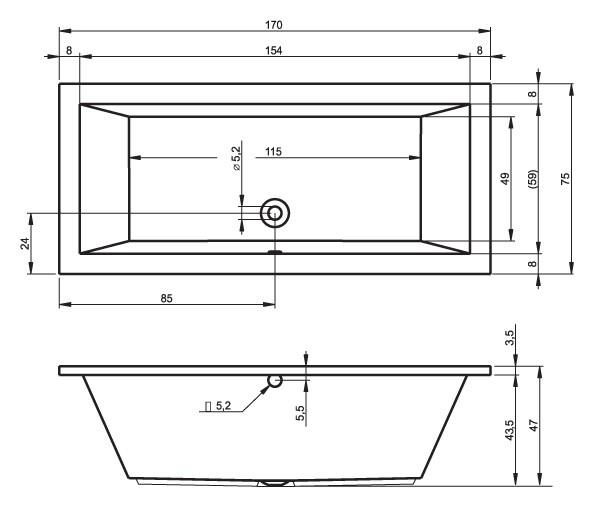 Акриловая ванна Riho Lusso 170