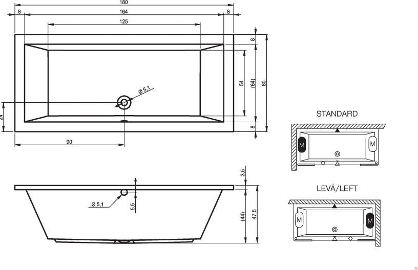 Акриловая ванна Riho Lusso 180x80