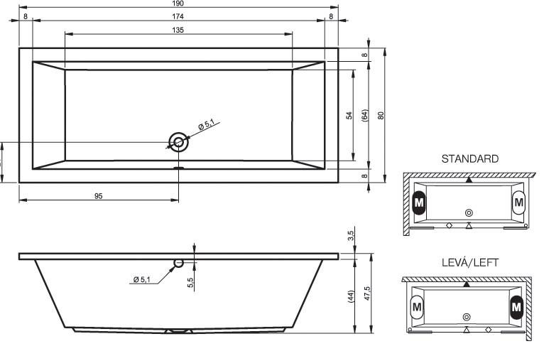 Акриловая ванна Riho Lusso 190x80