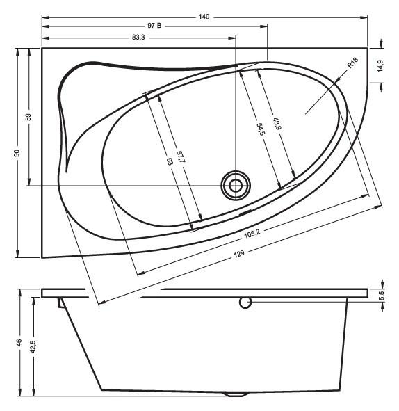 Акриловая ванна Riho Lyra 140 R